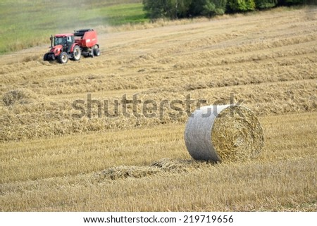 Haystacks on a field with a tractor in September at the time of harvest. Hay bail harvesting in golden field landscape - stock photo