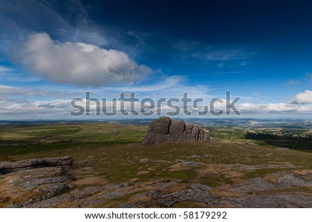 Haytor Dartmoor landscape - stock photo