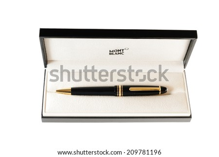Hayward, CA - August 7, 2014: Black & Gold Mont Blanc pen in presentation case - stock photo