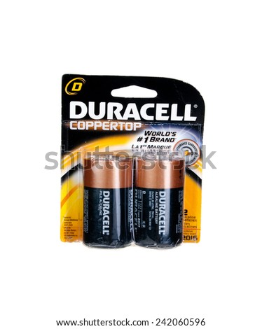 "Hayward, CA - January 5, 2015: Packet with a pair of Duracell CopperTop ""D"" cell batteries"