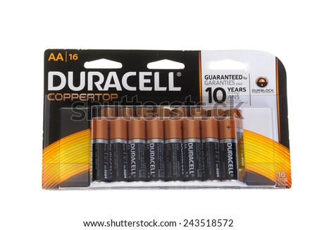 """Hayward, CA - January 5, 2015: Packet with 16 Duracell CopperTop """"AA"""" cell batteries - stock photo"""