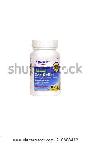 Hayward, CA - July 31, 2014: bottle of 48 Equate brand 125 mg Gas Relief tablets