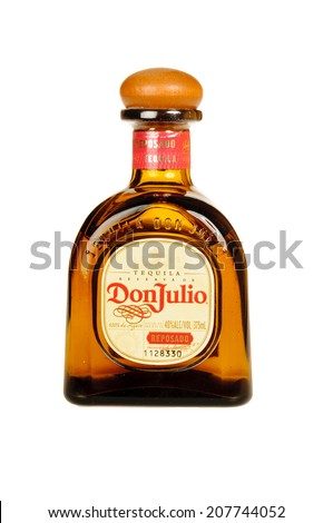 Hayward, CA - July 28, 2014: 750 ml bottle of Don Julio  Reservade Tequila, 100% from Agave, limited production - stock photo