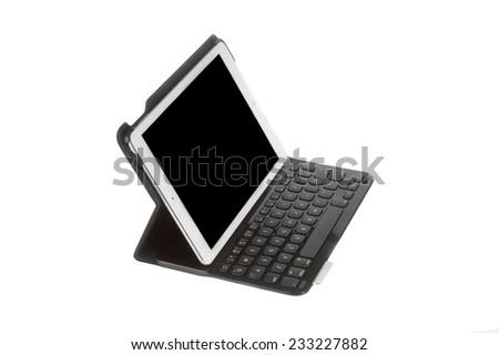 Hayward, CA - November 24, 2014: Apple Computer iPad with magnetic keyboard - stock photo