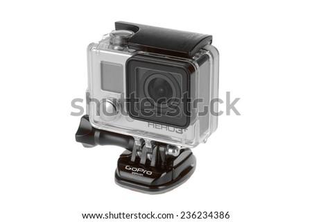 Hayward, CA - November 27, 2014: Hero 3 Black GroPro camera isolated on white - stock photo