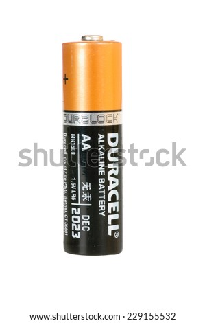 Hayward, CA - October 27, 2014: Duracell Alkaline AA battery in closeup - stock photo