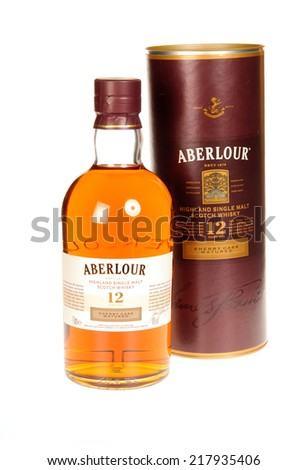Hayward, CA - September 16, 2014:  1 liter container of 12 year old Aberlour Highland Single Malt, Sherry Cask matured Scotch Whiskey