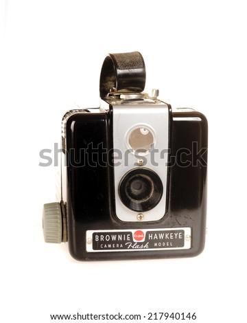 Hayward, CA - September 16, 2014: Vintage Kodak Brownie Hawkeye Camera - stock photo