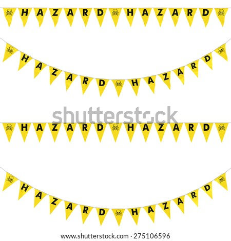 HAZARD Bunting with Skull and Crossbones Symbol Collection: 3D reflection and flat orthographic textures - stock photo
