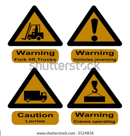 hazard signs at dock fork lift trucks, cranes and lorries - stock photo