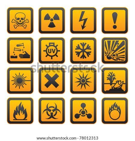 Hazard symbols orange vectors sign. Bitmap copy my vector ID 76586971 - stock photo