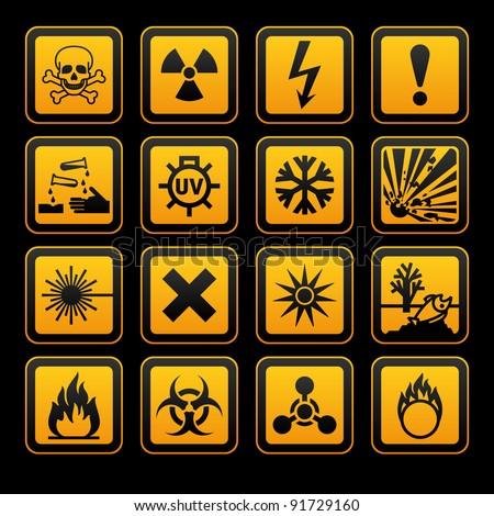 Hazard symbols orange vectors sign, on black background - stock photo