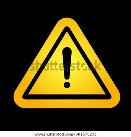 Hazard warning attention sign on black background. Yellow hazard warning  sign. - stock photo