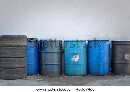 Hazardous and Toxic Waste Barrels storing pollution - stock photo
