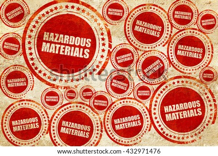 hazardous materials, red stamp on a grunge paper texture - stock photo