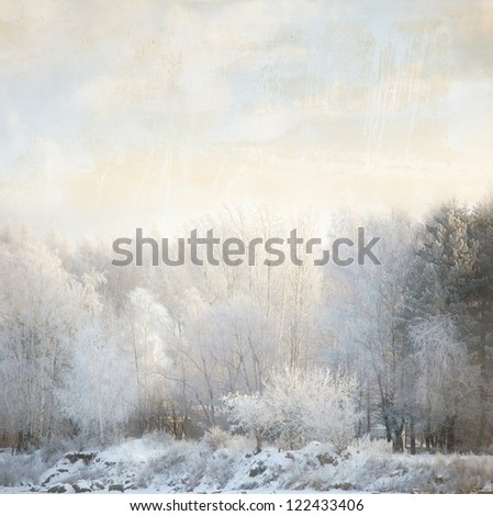 haze in frozen forest in winter season on old vintage paper - stock photo
