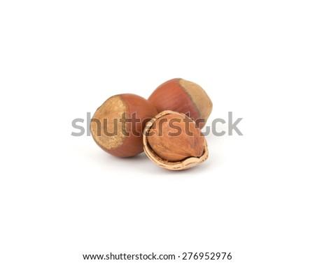Hazelnut or filbert nut isolated on white background cutout - stock photo