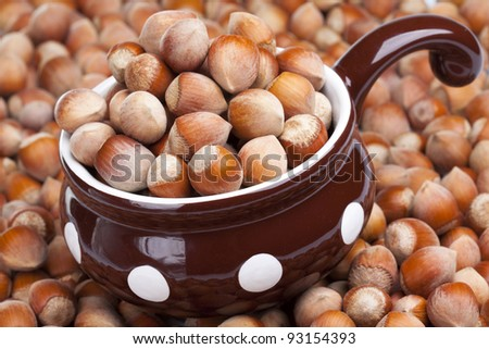 Hazelnuts in ceramic pot - stock photo