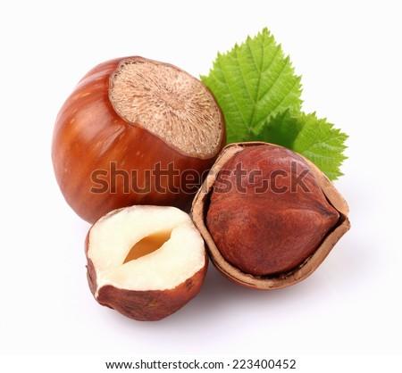 Hazelnuts with leaf - stock photo