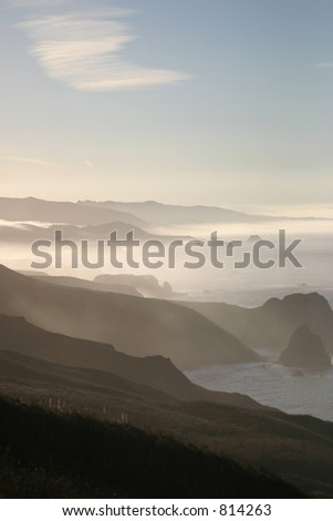 Hazy Coast Line - stock photo