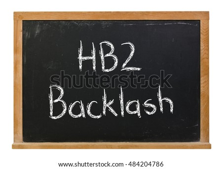 HB2 backlash written in white chalk on a black chalkboard isolated on white