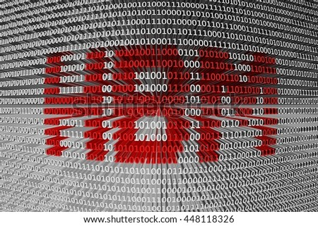 HBM in the form of binary code, 3D illustration