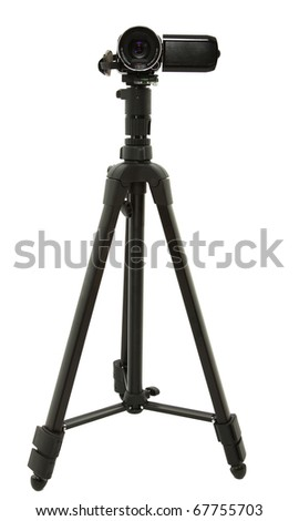 HD Camcorder On Tripod Over White - stock photo