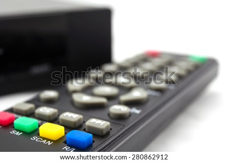 hd player with remote controler isolated on white background - stock photo
