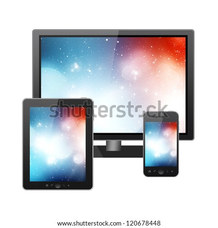 HD TV, Tablet pc and mobile phone
