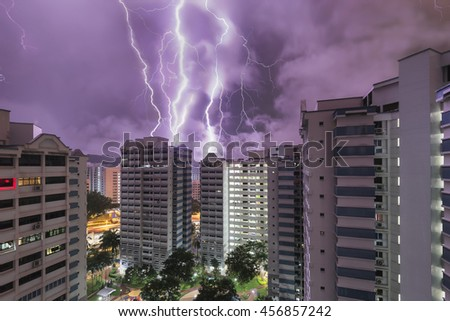 HDB flat in Singapore and lightning, Housing and Development Board governs majority of property in Singapore - stock photo