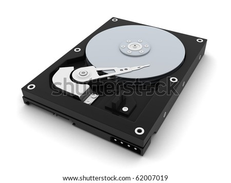 HDD, computer part (done in 3d, isolated)