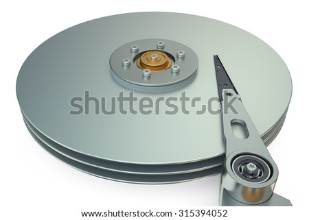 HDD, Hard Disk Drive view inside  isolated on white background