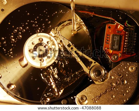 HDD wet - stock photo