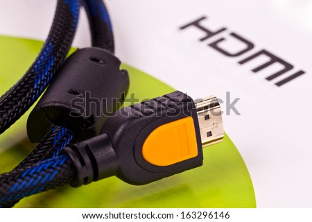 HDMI cable close up isolated on a white background - stock photo