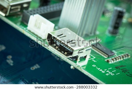 HDMI out port on pcb circuit board