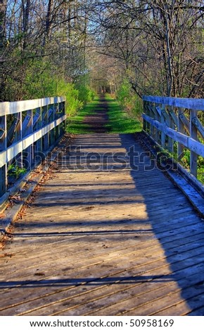 hdr bridge and path in spring