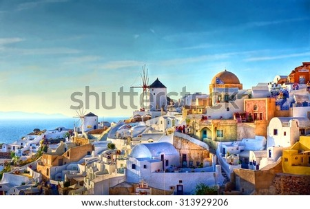 HDR image from the famous view over the village of Oia at the Island Santorini, Greece - stock photo