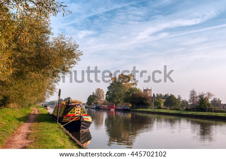 HDR image of an idyllic spot in the early morning on the Gloucester and Sharpness canal at Frampton on Severn, UK.