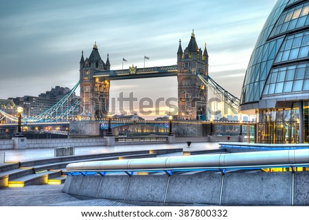 HDR image of City hall and Tower Bridge - stock photo
