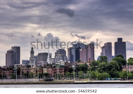 HDR image of downtown Boston - stock photo