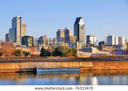 HDR Image of Lachine Canal and Montreal Skyline early in the morning. - stock photo