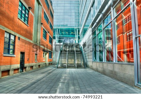 HDR Image of Modern Exterior Stairs between buildings - stock photo