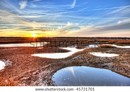 hdr image of oyster beds at low tide in south carolina - stock photo