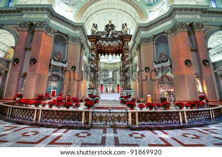 HDR Image of The Altar of the Basilica of Mary Queen of the World in Montreal - stock photo