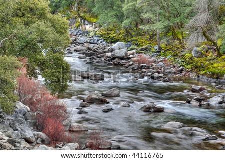 HDR Image of the Merced River in Yosemite National Park, California. - stock photo