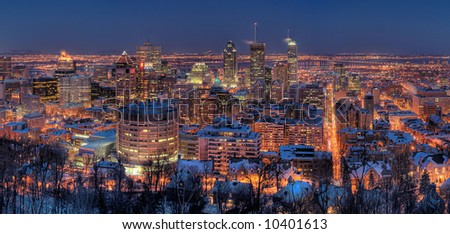 HDR Image of the Montreal Downtown Core and McGill University at Night - stock photo