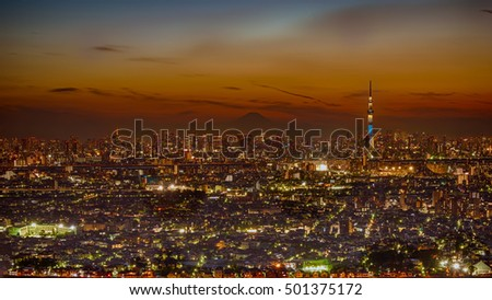 HDR image of Tokyo dense buildings with skytree at dusk