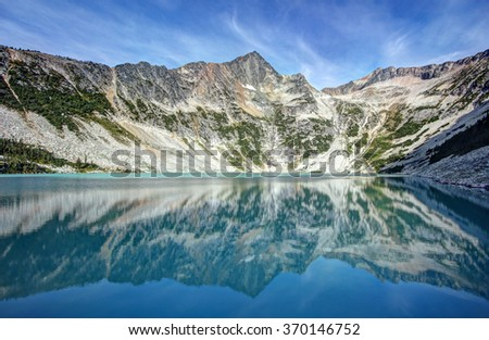 HDR Image - The remote Antimony Lake in British Columbia, Canada. - stock photo