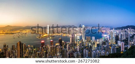 HDR images of Hong Kong Victoria harbor scenes   - stock photo