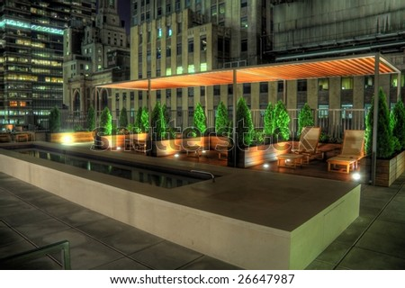 HDR night image of a rooftop terrace in the NYC financial district. Some chromatic aberration is inevitable with this kind of image.